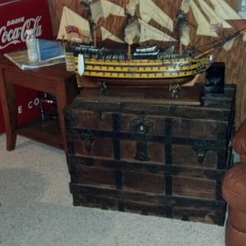 Antique Steamer Trunks With Model Ships - Furniture