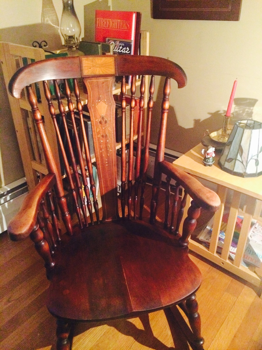 Groovy Cherry Wood Antique Rocker With Inlay Collectors Weekly Gmtry Best Dining Table And Chair Ideas Images Gmtryco