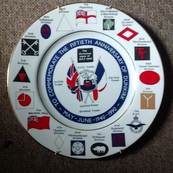 Edwardian Fine Bone China Dunkirk Fiftieth Anniversary Plate with wall holder 27cm diameter - Military and Wartime