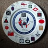 Edwardian Fine Bone China Dunkirk Fiftieth Anniversary Plate with wall holder 27cm diameter