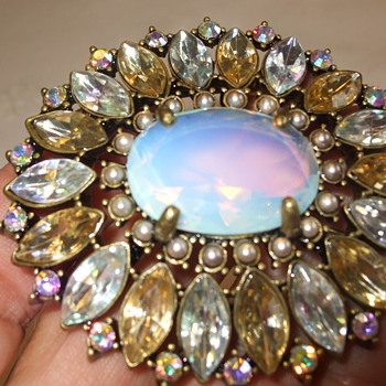 Large Costume Brooch with Aurora Borealis Crystals & Moonstone-Has NR Mark? - Costume Jewelry
