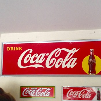 "1947 Drink Coca Cola bottle in the spotlight 54"" x 18"" large tin sign. - Coca-Cola"