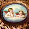 Antique Meissen Porcelain Cherub Wings Carved Wood Picture Frame Help
