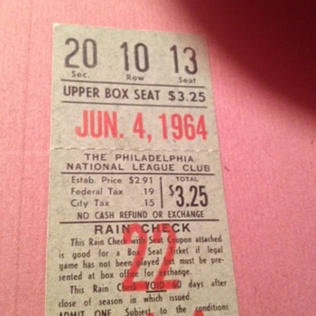 sandy koufax 3rd no hitter ticket stub - Baseball