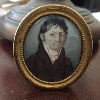 Miniature Georgian Era Watercolor Portrait of Gentleman - Fine Art