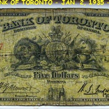 THE BANK OF TORONTO ( 1935 ) Five dollars - Paper