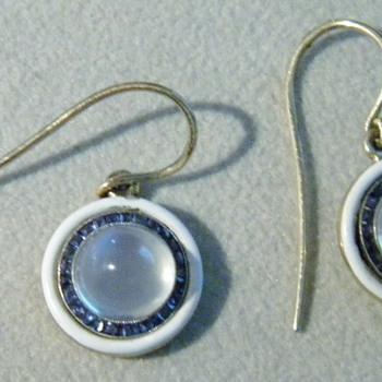 Antique Deco Ceylon Moonstone Sapphire Enamel 14k Earrings - Fine Jewelry