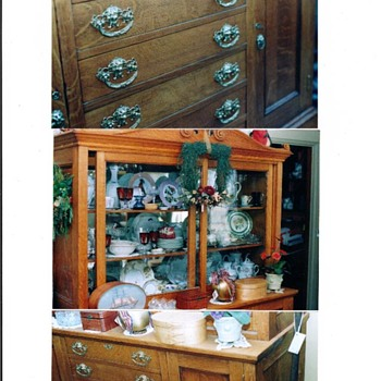 Father Christmas Lady and Antique Oak Server, Davenport and N.H. Game/Card Table - Christmas