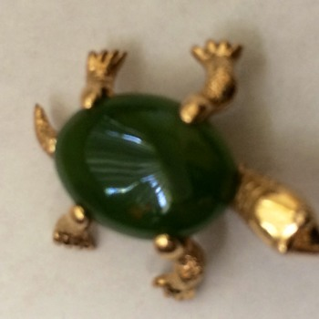 Gold and Jade Turtle Pin - Fine Jewelry