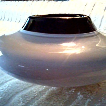 Dove Grey and Black Cased Glass Squat Vase-Bowl / Unknown Maker and Age - Art Glass