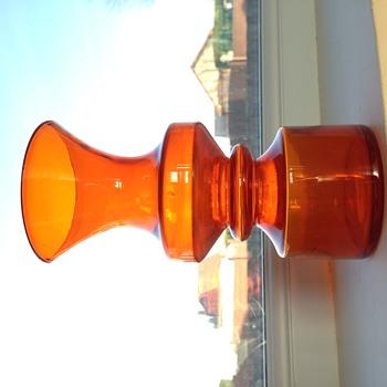 Orange Scandinavian Hooped Glass Vase - Riihimaki ? - Art Glass