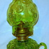 My latest Glass Interest, American finger font oil lamps, matching Chimney and Base glass decor, Moon & Stars 1960s Repro