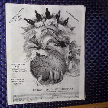 1844 Sheet Music, Santa, No Milk & Cookies!!Crown of Liquor Bottles!