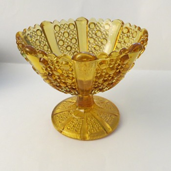 Davidson Pressed Glass Amber Compot