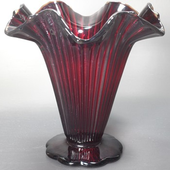 Fenton #1800 Sheffield Ruffled Vase - Ruby Red - Art Glass