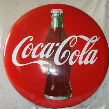 "48 "" Coca Cola Porcelain Button Sign"