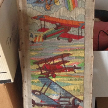 Vintage Air Plane Yarn Embriodery Art Piece