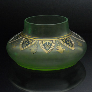 Fritz Hecert enameled vase - Art Glass