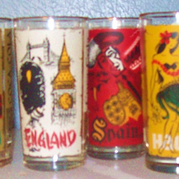 Coca Cola Glasses with around the world paintings on them - Coca-Cola