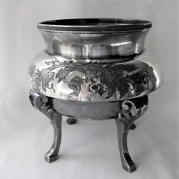 Ornate Victorian Waste Bowl For Tea Set - Quadruple Silver Plate Meriden 1890 - Silver