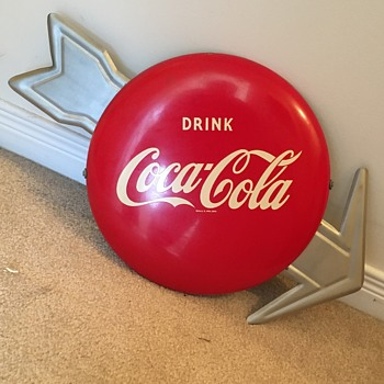 Coca-Cola Button Sign with Arrow - Coca-Cola