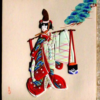 Japanese Geisha Image on Board  - Asian