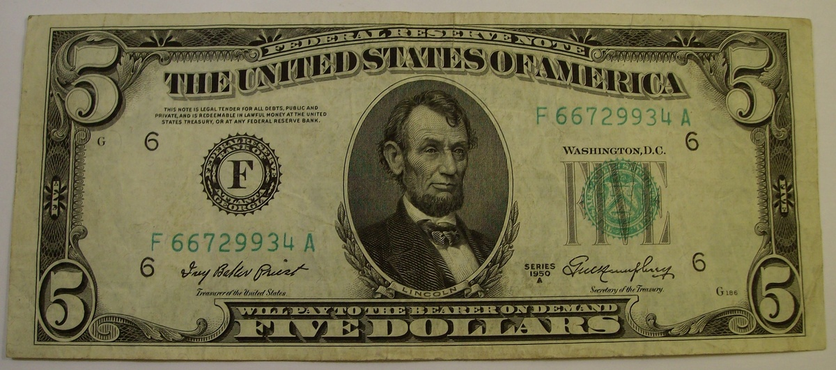 $5 Silver Certificate & Federal Reserve Notes 1934 & 1950 & 1953 ...