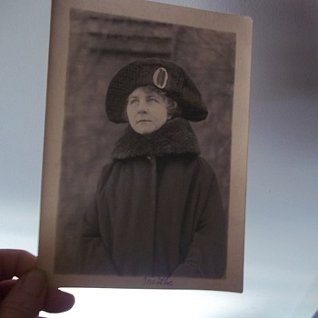MARTHA, OUTDOOR PHOTO, 5X7  I THINK BY THE STYLE OF HAT, AROUND 1918.