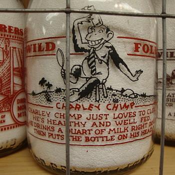 """FREAR DAIRY..DOVER DELAWARE...""""WILD FOLK SERIES""""...CHARLEY CHIMP - Bottles"""