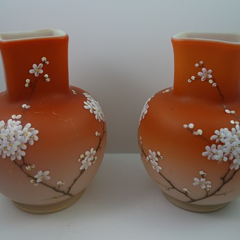 Early Loetz (Alpenrot) Enameled Vases, mirrored pair, ca. 1893 - Art Glass