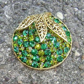 Two Tone Green Rhinestone Brooch - Costume Jewelry