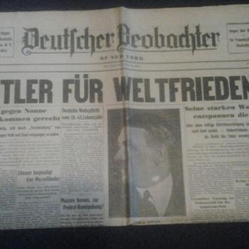 "1935 ""Hitler For World Peace"" Newspaper - Paper"