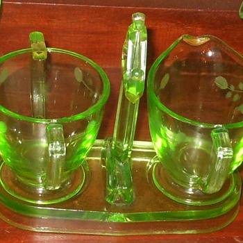 Green Depression Glass etched Cream and Sugar Caddy - Glassware