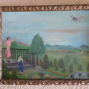 Primitive Painting with Lindburgh Airplane?     - Fine Art