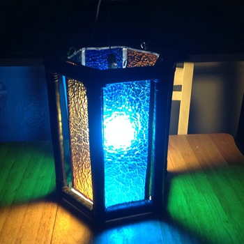 hexagon multi colored swag lamp wooden bambo outside  - Lamps