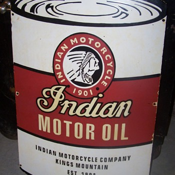 Indian Motorcycle Company Motor Oil Porcelain Sign - Signs