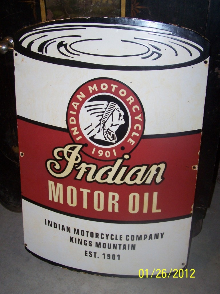 Indian Motorcycle Company Motor Oil Porcelain Sign | Collectors Weekly