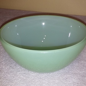 unmarked jadeite glass soup bowl - Glassware