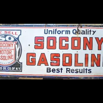 Large SACONY gasoline porcelian sign - Signs