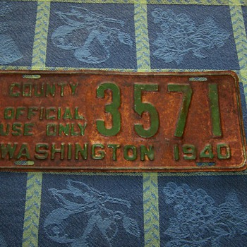 """1940 Washington State """"County Official Use Only"""" License Plate"""