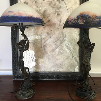 """New Collector: Le Verre Francais """"King and Queen"""" Lamp Set on """"Serpent"""""""