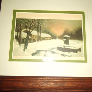 Old Dr.'s Christmas card from thrift store, Snow Covered Trough