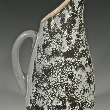 MODERNIST Matte and Crawl Glazed Pottery Pitcher - Pottery