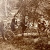 My Great Grand Pepere and his twin on their bicycles and his rustic cabins...