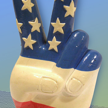 1960s RWB Composition Figural American Flag Hand making the Peace Sign Still Bank - Coin Operated