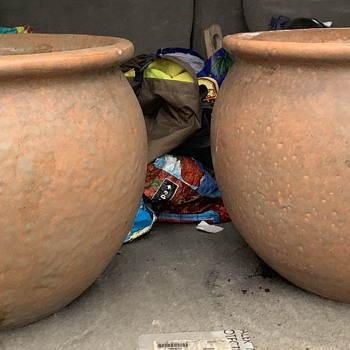 Two Enormously Heavy Art Pottery Planters - Pottery