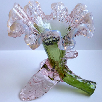 Kralik Pale Pink and Green Floriform Vase  - Art Glass
