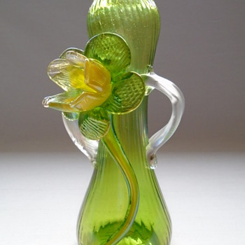 Kralik Iridescent Vase with Applied Flower  - Art Glass