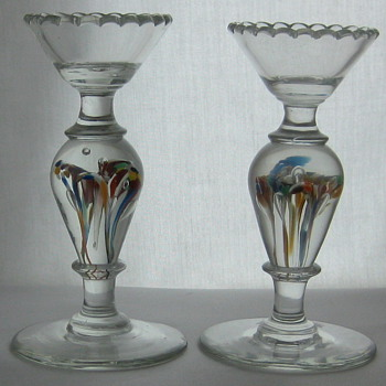 Candlesticks with Paperweight Stems - Art Glass