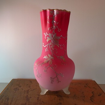 Peach Blow Tri-legged Vase - Art Glass